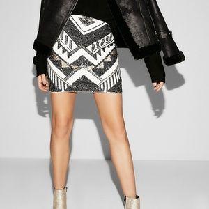 Express High Waisted Sequin Mini Skirt, Medium